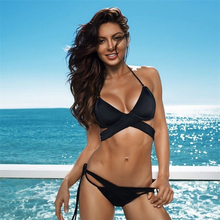 2018 Sexy Swimwear Women Bandage Bikini Sets Push Up Bra Swimsuit Bathing Suit Brazilian Beachwear Biqui Black Swimming Suit NEW