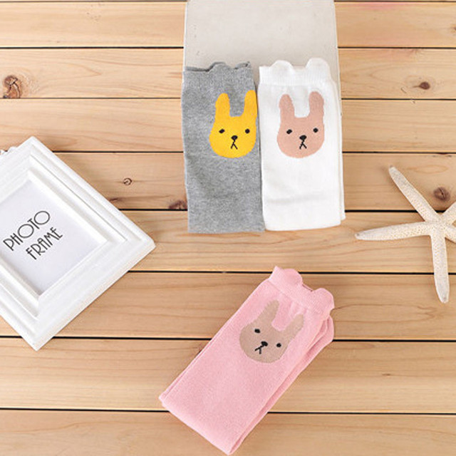 07ce5de72 Children Kids Girl Animal Rabbit Pattern Print Knee High Socks Cute Socks  Inverno Quente altura do joelho meias Nova Mulheresl