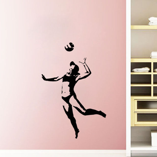 Wall Decors sport wall stickers volley ball player gymnasium wall decoration