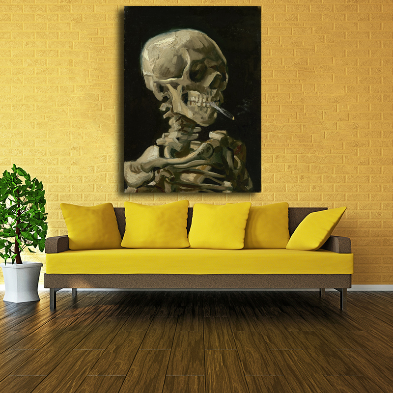 Hot Sale Painting Reproductions Skull with Burning Cigarette Van Gogh Oil Painting On Canvas Wall Art Home Decoration Unframed