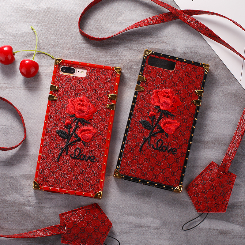 luxury brand Square 3D Embroidery Rose Flower Case for iPhone X 8 7 6 6s Plus Girl Phone Cover for Samsung Galaxy S9 S8 Plus