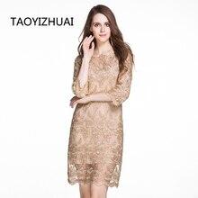 TAOYIZHUAI 2019 Autumn Lace Women Dress Vintage Gloden Elegant Embroidery Above Knee Spliced Plus Size Women Lace Dress 14008