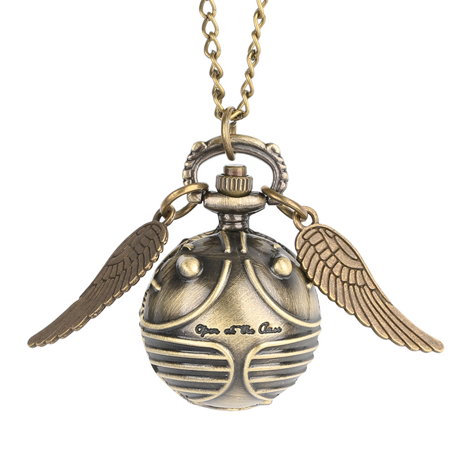 Bronze Color Beetle Shape Small Ball Wings Pocket Watch Necklace Pendant Lovely Quartz Watch For Children Clock Birthday Gifts