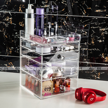 Aila Clear Acrylic Makeup Organizer Storage Box with 4 Pull Out Drawers 1 Top Tray and Diamond Handles