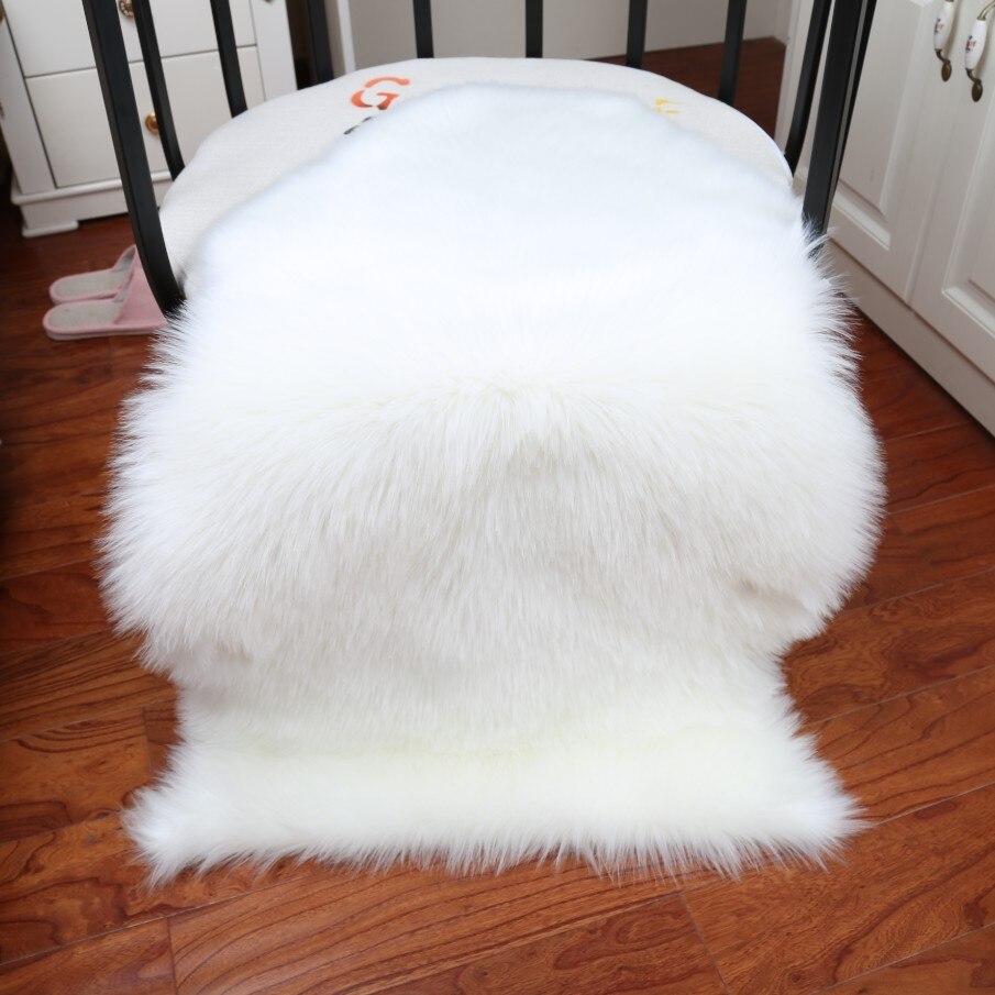 Tapis doux maison en peau de mouton chaise couverture tapis laine artificielle plaine moelleux tapis chambre couverture tapis pour enfants salon Tapete - 3