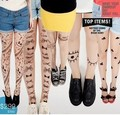 Frete grátis 2016 Verão Nova Moda Flor Impressão Tatuagem Collants meias De Seda Ultra-fino Pantyhose Collants Para As Mulheres