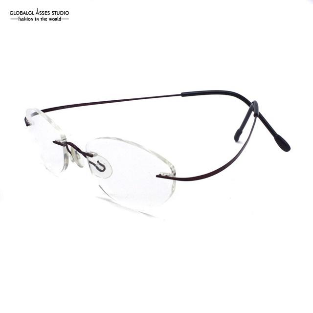 Cómodo moda sin rebordes titanium anteojos memoria delgado color de bronce marco de los vidrios de eyewear óptico rx 115381
