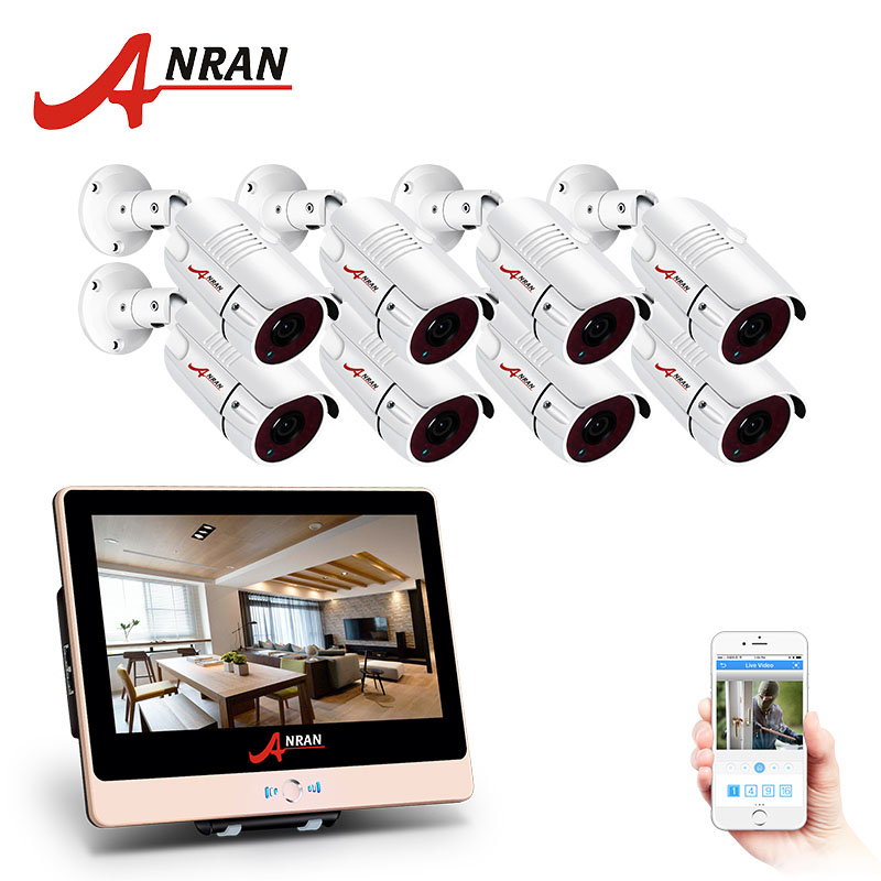 ANRAN 8CH CCTV System 1080P12 LCD Monitor HD POE NVR IP Camera font b Outdoor b