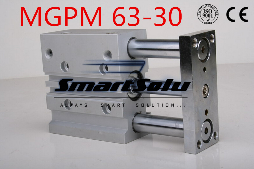 Free Shipping  MGPM63-30  double acting 3-rod compact guide air cylinder pneumatic bore 63mm stroke 30mm MGPM63-30 slide bearing  built in magnet double acting guide rod cdqmb100 30 compact cylinder bore 100mm stroke 30mm
