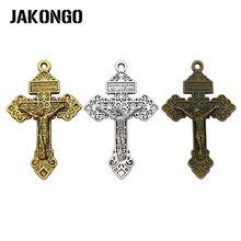 JAKONGO Bronze Antigo da Cor do Ouro Cruz de Jesus Pingentes Encantos para Fazer Jóias Colar Pulseira DIY 55x34mm 4 pçs/lote