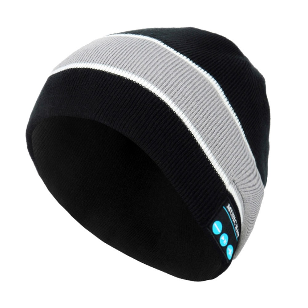 New Beanie Hat Fashion Item Embroidery Knit  Beanie Hip Hop Keep Warm  Bluetooth Beanie Hat Winter Audio 2 Colours Brand New