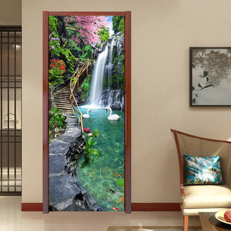 3D Nature Landscape Waterfalls Door Wall Sticker Living Room Kitchen PVC Self-Adhesive Waterproof Sticker On The Doors Wallpaper