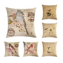 Eclectus funda para almohada con aves pintura a mano Vintage europeo Retro fundas para cojín con pájaros funda de almohada de lino Beige decorativa ZY171