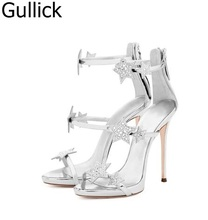 Hot Sale Women Solid Color Patent Leather Sandals Summer Fashion Bling Stars Decoration Hollow Out Shoes Back Zipper High Heels