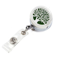 Silver Life Tree Aroma Perfume Locket Metal Retractable Badge Reel Key ID Card Clip Ring Lanyard Name Tag Card Holder Free Pads(China)