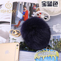 10CM fur pompom key chains porte clef fourrure Rabbit fur ball keychain llavero pom pom keychain key ring sleutelhanger ring