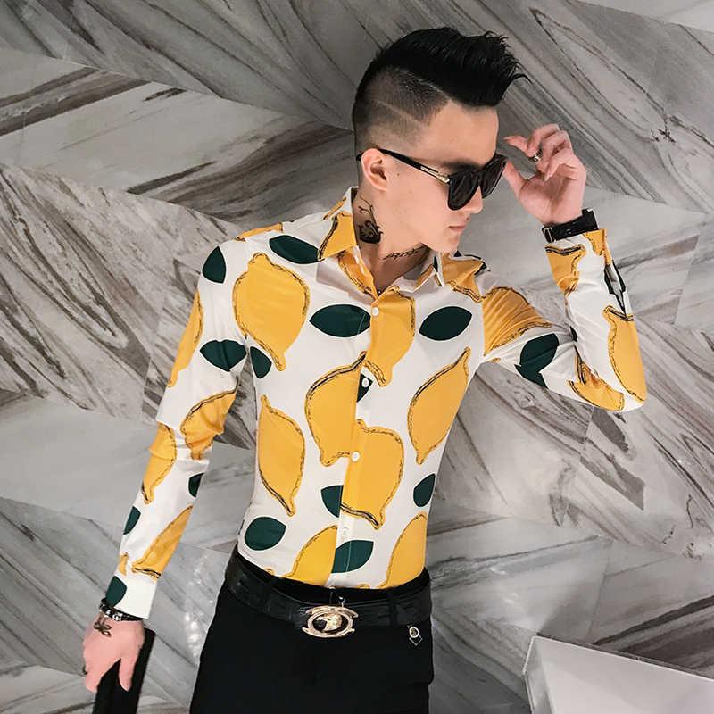 黒、白 2019 秋ファッションフルーツプリントシャツスリムフィット韓国服男性シュミーズオム花パーティークラブシュミーズオム