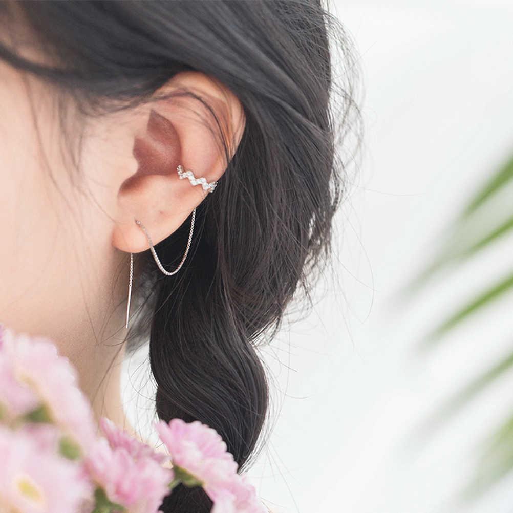 532297fb4 ... PIXNOR 925 Sterling Silver Wave Cuff Chain Dangle Earrings Wrap Tassel  Earrings for Women Jewelry