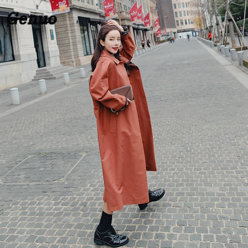 Fashion Long   Trench   Coat For Women Autumn Spring   Trench   Coats X-long Outerwear Loose Coat Plus Size Mujer   Trench   Oversize Genuo