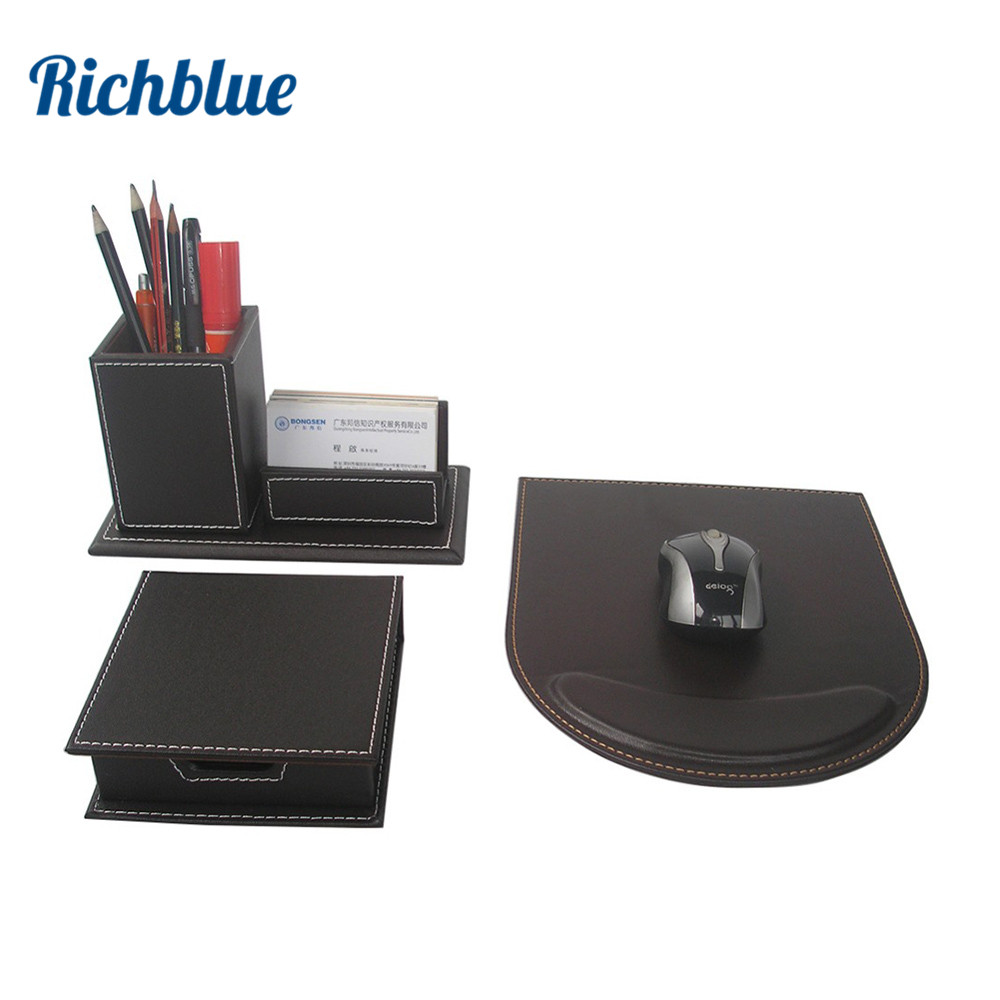 3 Pcs/Set PU Leather Desk Stationery Organizer Pen Box with Name card Stand Note Case Mouse Pad Mat T48