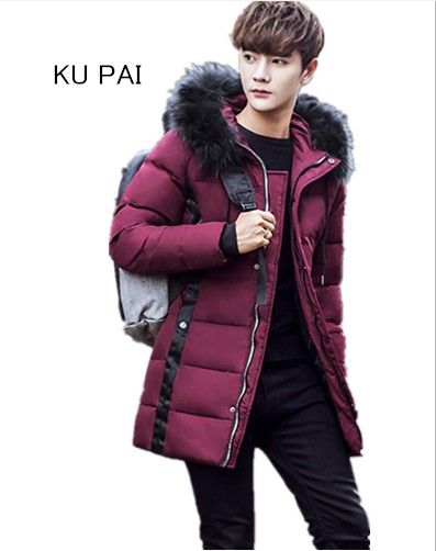 Winter long coat 2018 new hooded jacket in the long section of the Korean version of the young cotton jacket jacket sky blue cloud removable hat in the long section of cotton clothing 2017 winter new woman