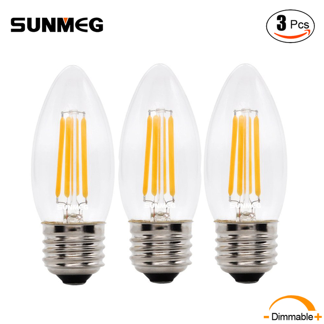 Sunmeg 3pcs B11 Chandelier Filament Led Bulbs E26 E12 110v 2w 4w 6w 2700k