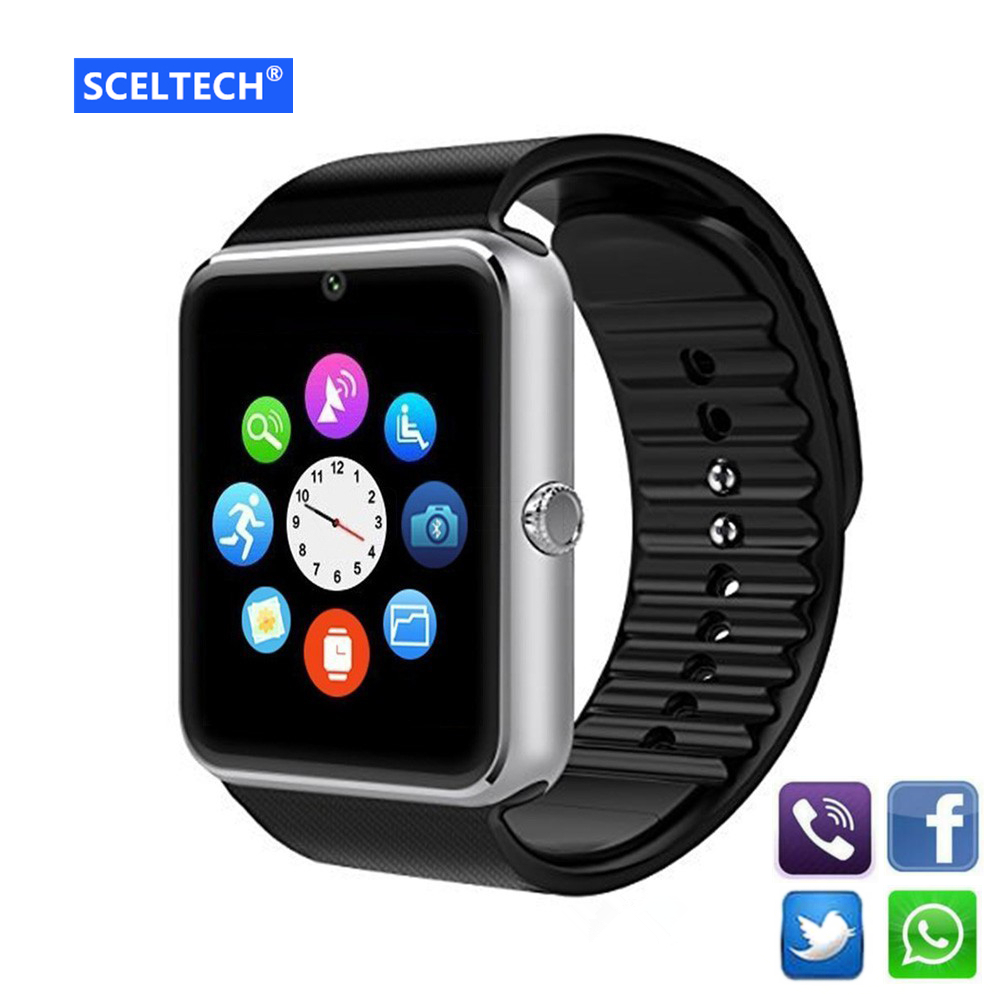 SCELTECH Bluetooth Smart Watch Men GT08 With Touch Screen Big Battery Support TF Sim Card Camera For IOS iPhone Android Phone