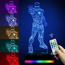 Novelty 3D Desk Lamp Night Lights Star Wars Iron Man Bedside Nightlight Luminaire Lava Lamp 7 Colors Abajur Para For Bady Lamps