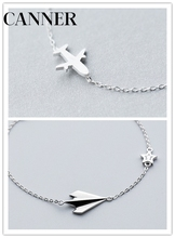 CANNER 925 Sterling Silver Jewelry Aircraft Airplane Plane Chain Bracelet Adjustable Cute Charm For Girls Woman R4
