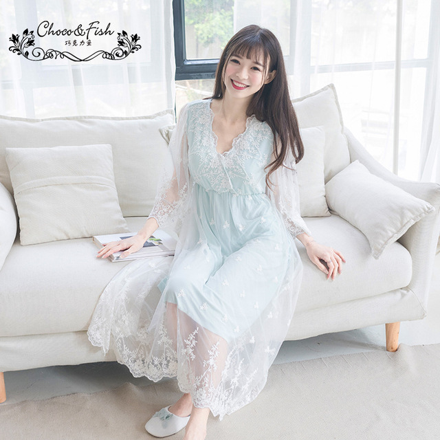 c0d1803422 Summer French Palace Pregnant Women Princess Sleeping Dress Lace Embroidery  Modal Cotton Long Sleeve Homewear Nightdress YFQ206