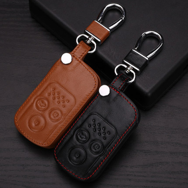 Leather Wallet Keychain For Accord Honda Fit City Civic Crv Spirior Hrv Insight Key Fob Holder For Honda Car Key Case Bag Shell