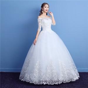 Image 4 - Korean Lace Half Sleeve Boat Neck Wedding Dresses 2020 New Fashion Elegant Princess Appliques Gown Customized Bridal Dress D09 7