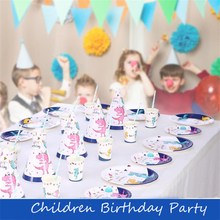 New Dinosaur Party Disaposable Tableware Cartoon Birthday 1th Baby Shower Boy Decor Banner/Plates/Cups Supplie
