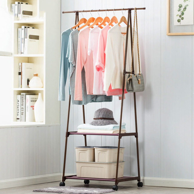 Multi-function Triangle Coat Rack Removable Bedroom Hanging Clothes Rack With Wheels Floor Standing Coat Rack Clothes Hanger 1