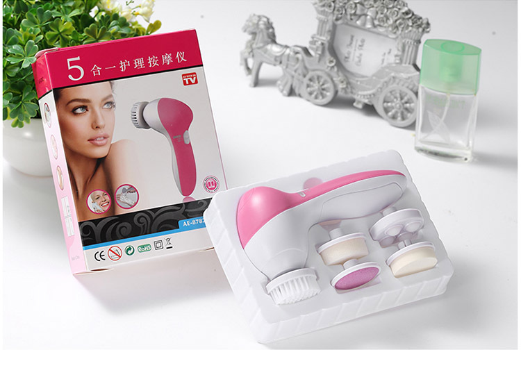 5 In 1 Electric Wash Face Machine Replaceable Head Facial Pore Cleaner Body Cleansing Massage Mini Skin Beauty Massager Brush