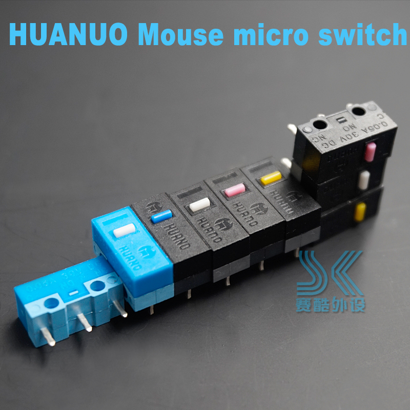 Original HUANO Mouse Micro Switch Button White Yellow Blue Pink Dot Blue Shell White Dot General OMRON Square 3-pin Switch