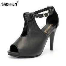 TAOFFEN größe 30-43 frau knöchelriemen high heel sandalen ankunft heißer sommer women casual schuhe P19266