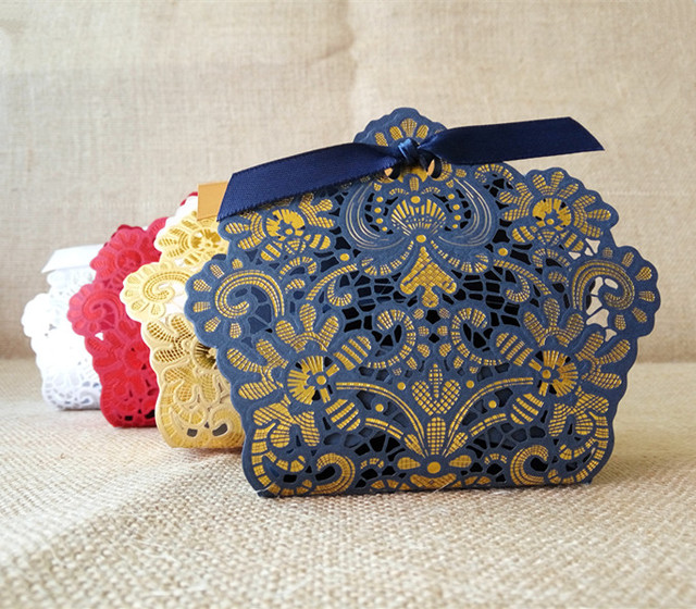 Royal Blue Red White Gold Laser Cut Wedding Favor Bo Candy Box