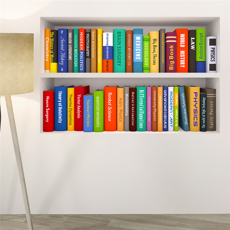 3d book bookshelf wall stickers for study room bedroom for Bookshelf wall mural