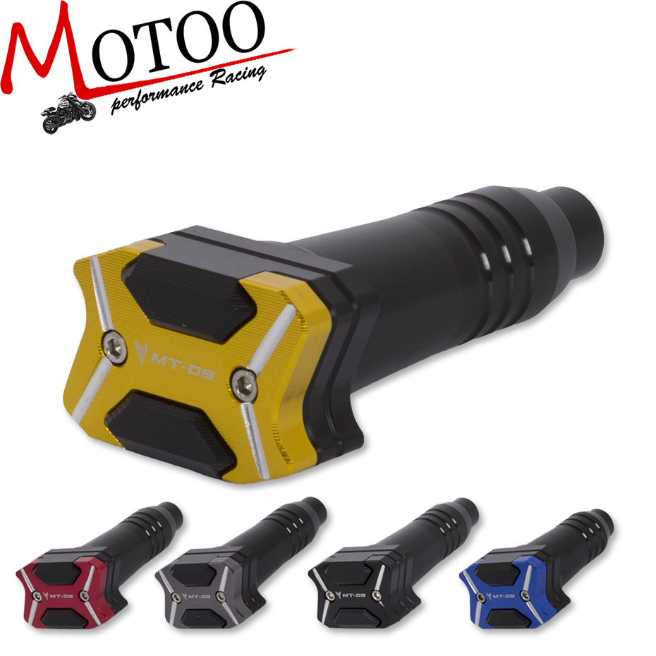 Motoo -2017 NEW CNC Aluminum Left and Right Motorcycle Frame Slider Anti Crash pads Protector For YAMAHA MT-09 MT09 2014-2016 high quality for ktm duke 125 200 390 motorcycle orange aluminum motorbike left and right frame slider anti crash protector