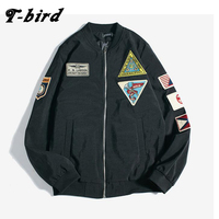T Bird Brand Clothing Men Jacket 2017 Pilot Tag Bomber Jacket Tactical Hooded Casual Slim Male