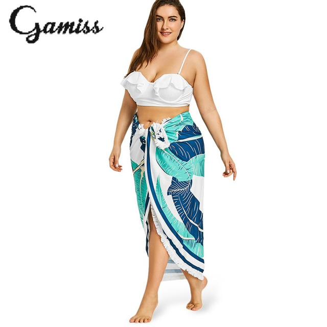 f08044b34 Gamiss Sexy Plus Size Fringed Palm Print Beach Throw Dress Summer Beach  Bathing Suit Cover Ups Beach Wear Dress Vestido Playa