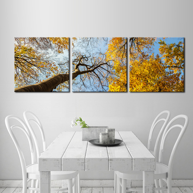 3 Panel Gold Forest Painting Print On Canvas Trees Poster Beautiful ...