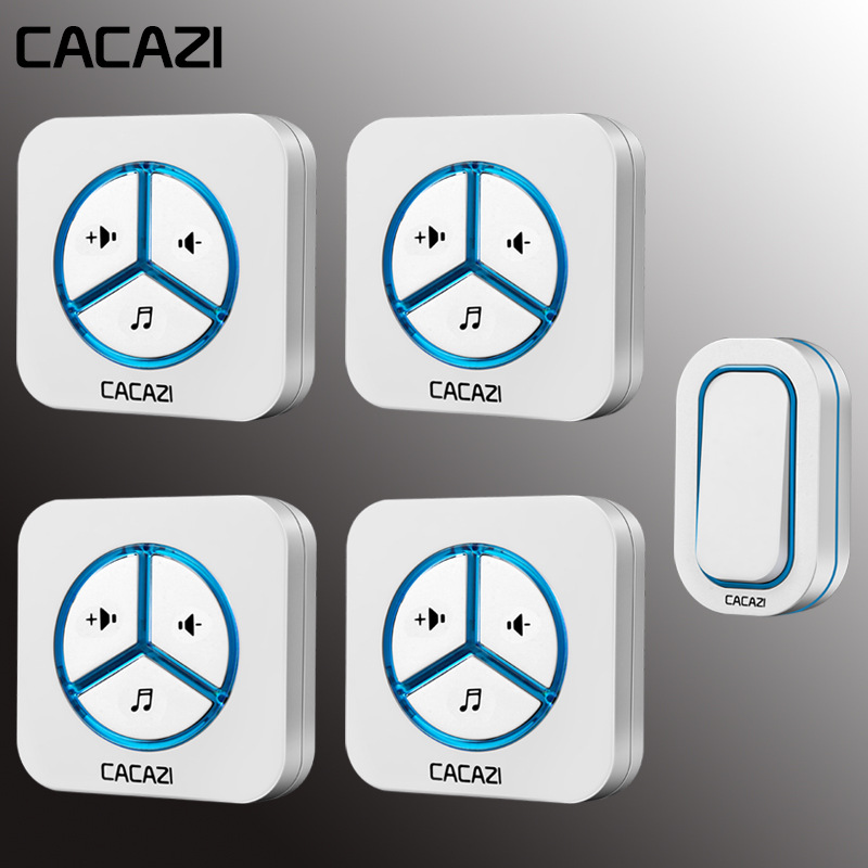 Cacazi Household Wireless Doorbell Waterproof 280m Remote Battery Button Smart Call Bell Eu Plug Ac Receiver 48 Chime 6 VolumeCacazi Household Wireless Doorbell Waterproof 280m Remote Battery Button Smart Call Bell Eu Plug Ac Receiver 48 Chime 6 Volume