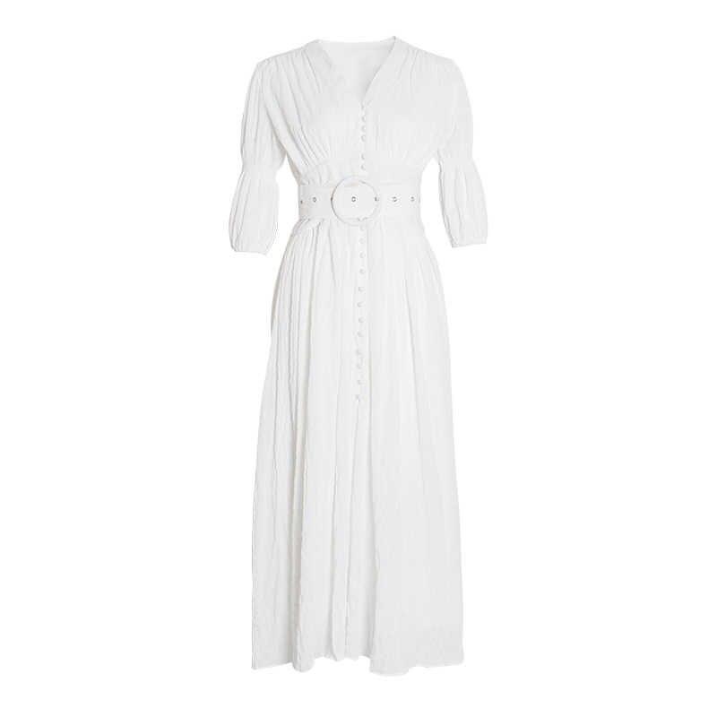Twotwinstyle primavera casual impressão feminina vestido v pescoço puff manga alta cintura midi vestido moda feminina 2019 nova maré de roupas