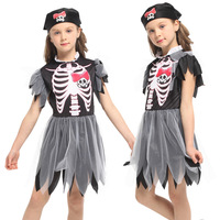 Halloween Carnival Party Costume Matching Scary Demon Devil Skull Skeleton Costumes Pirate Jumpsuit for Kids Girl