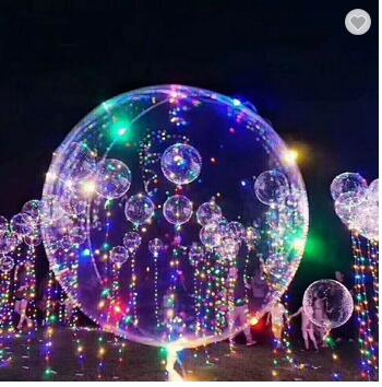 18 Inch Led Transparent BoBo Helium Balloon With Flash String Lights For Birthday Wedding Christmas Party Decorative