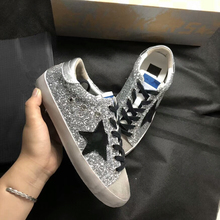 ew Women Casual Shoes Glitter Leather Do Old Dirty Shoes Mixed Color Women  Sequins Star Golden 86a1e6ea8956