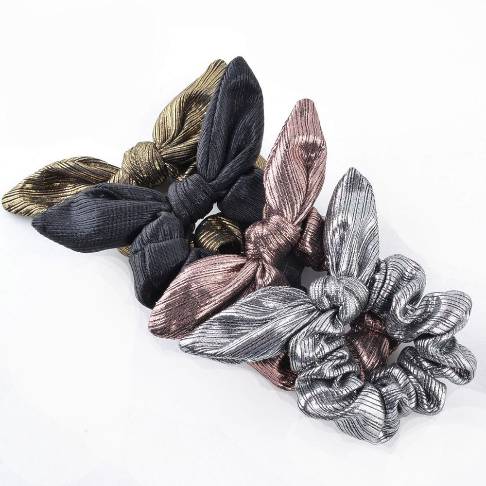 Silver & Gold Metallic Bunny Rabbit Ear Knot Bow Elastic Scrunchie For Girls And Women Ponytails Buns & Wrist Hair   Accessoires