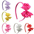 dot ribbon bow baby girl  band  baby&kid bow  band children hair butterfly accessories